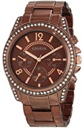 Geneva Moderate Women's AMZ1024 Boyfriend Triple Brown Faux Multi-Function Link Bracelet Watch