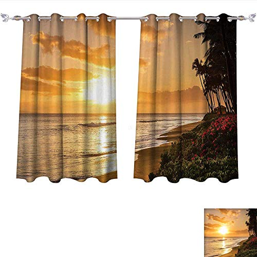 Thermal Insulated Blackout Grommet Curtain Hawaiian ations Warm Tropical Sunset On Sands Of Kaanapali Beach in Maui Hawaii Destination For Travel Drapes for Living Room (W72 x L84 -Inch 2 Panels)