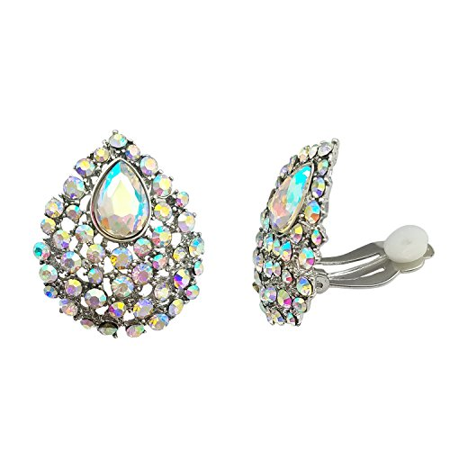 SELOVO Clear AB Austrian Crystal Teardrop Clip on Stud Earrings Iridescent Color Stone Silver Tone by SELOVO