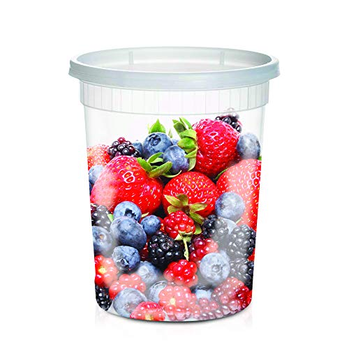 Plastic Container Quart 1 (Large Soup Storage Containers | 24 Large 32oz Leakproof Clear Plastic Storage Containers with Lids |Microwavable, Freezer & Dishwasher Safe BPA FREE)