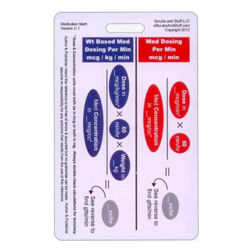 Medication Math Drip Titration Vertical Badge ID Card Pocket Reference Guide