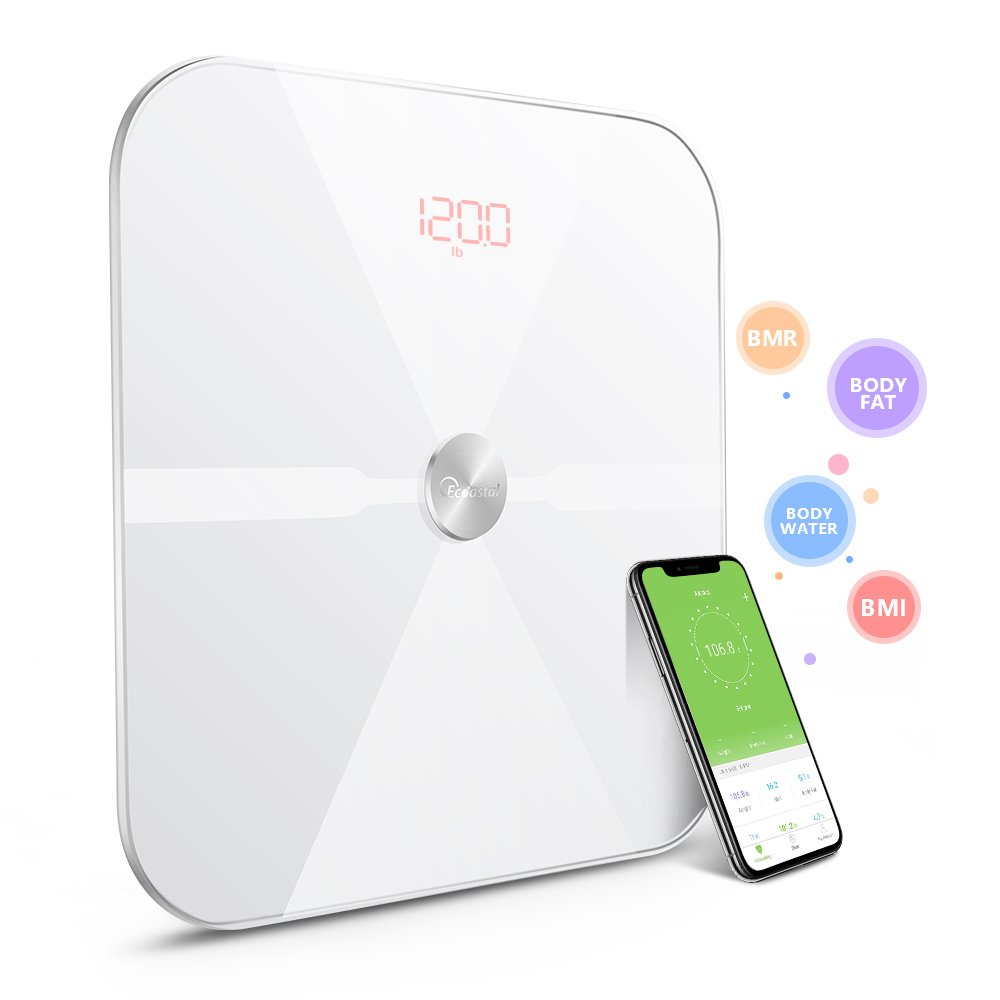 Body Fat Scale, Body Composition Analyzer Health Monitor with iOS and Android APP for BMI, Body Fat, Muscle Mass, Water Weight, and Bone Mass, Large Backlit Display Smart Scale