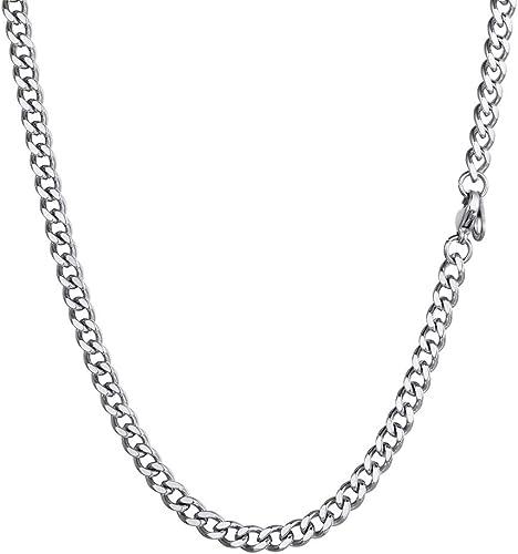 MENDINO Homme Acier Inoxydable Bracelet Curb Cuban Chaîne Poignet Argent 22,8 cm