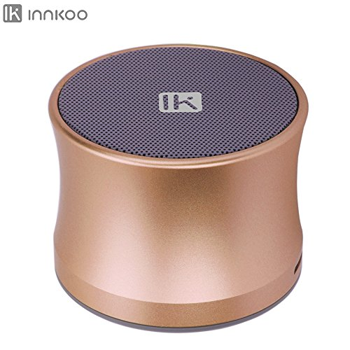 InnKoo KS01 Portable Mini Bluetooth Speaker Wireless Subwoofer 3D Surround Stereo Boombox Loudspeaker Box with Aluminum Shell Long Battery Life Build-in Microphone Support Hands-free Function (Coffee)
