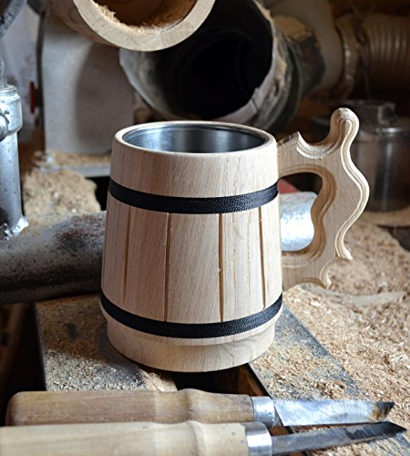Handmade Wood Beer Mug 0.6L 20oz Natural Stainless Steel Cup Men Gift Eco-Friendly Souvenir Retro Brown