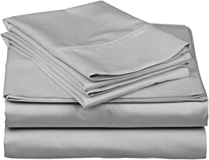 4 Piece Sheet Set 1000 Thread Count 100% Egyptian Cotton 15 Inch Deep Pocket Cooling Soft Solid Hotel Luxury Bedding Collection – Flat Bedsheet, Fitted Sheet & 2 Pillowcases (Queen, Silver Grey)