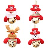 HMILYDYK 4Pcs Christmas Decorations Hanging Bells Small Xmas Tree Window Pendant Baubles Festival Party Ornaments Holiday Gifts