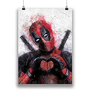Deadpool Graffiti Fine Art Print, Deadpool 2 Home Decor Poster, Marvel Fan Art Decal, Superhero Gifts, 100% Cotton Paper