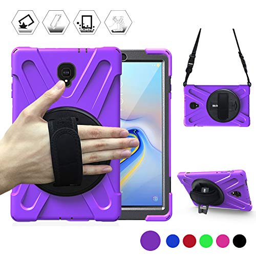 BRAECN Samsung Galaxy Tab A 10.5 Case 2018, Military Rugged Shockproof Dustproof Protective Case with Rotating Handle/Stand+Shoulder Strap for Galaxy Tab A 10.5 Inch 2018 Model T590/T595/T597(Purple) (Samsung Tablet Military Case)