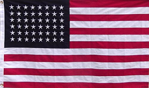 3x5 Embroidered Sewn American 48 Star Linear Cotton Flag 3'x