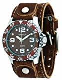 Nemesis #BSTH097B Men's Premium Wide Leather Cuff Band Watch, Watch Central