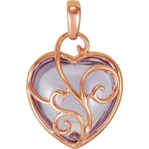 7.35k Rose De France Heart in 14k Rose Gold Filigree Pendant by The Men's Jewelry Store
