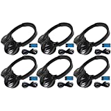 6 Pack of 2 Channel Fold Flat Adjustable Universal Rear Entertainment System Infrared Headphones 6 Additional 48'' 3.5mm Auxiliary Cords Wireless IR DVD Player Head Phones Car TV Video Audio Listening