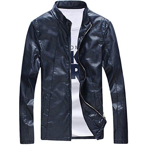 Fit Leather Coat Jacket Azul Classic Outerwear Zhhlaixing Regular Sleeve suave Mens Long PU gqnZPzYw