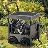 Suncast 300-Foot Capacity Steel-Core Garden Hose Reel Cart with Tray And Hose Guide FWT300