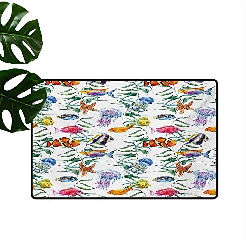 Custom Pattern Floor mat,Tropical Coral Reef with Seaweed Algae Jellyfish Aquatic Saltwater Nemo Theme 16
