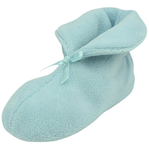 Home Slipper Fuzzy Bootie Slippers,Women's Warm Booties Coral Fleece Plush Memory Foam Indoor House Slipper Boots, Light Blue,US 8 ()