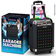 #LightningDeal Karaoke Machine for Adults and Kids, Bluetooth Portable Singing PA Speaker System + 2 Wireless Dual Microphones + LED & Disco Lights + TV and Aux cable. Best Christmas & Birthday Gift for Boys & Girls