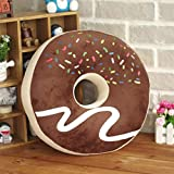 ChezMax Round Doughnut Donut Back Stuffed Cushion Insert Filler Filling Throw Pillow Plush Play Toy Doll for Office Chair Car Seat Yoga Dance Chocolate Icing Sugar 14.6 X 14.6