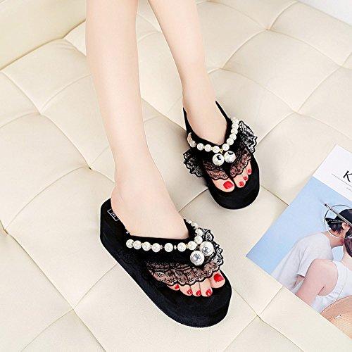 Sandalias Beaded 1 Zanpa Verano Slides Zapatos Mujer black qpwtfxC