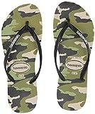 Havaianas Women's Slim Camu Flip Flop Sandal, Beige/Black, 7/8 M US
