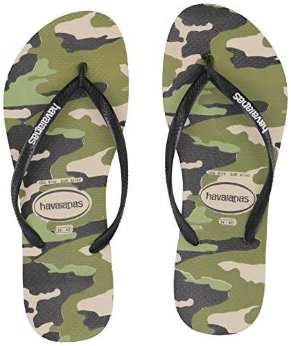 Havaianas Women's Slim Camo Flip Flop Sandal,Beige/Black, 37/38 BR(7-8 M US Women's / 6-7 M US Men's)