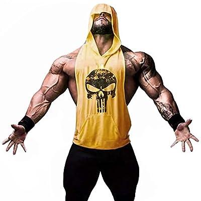 Men's Sleeveless Hoodie Tank Top Skull Fitness Gym Workout Shirt
