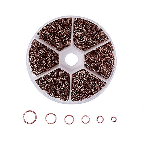 Pandahall 1Box/1745pcs Iron Open Round Jump Rings Split Rings Single Loop for Jewelry Makings 4mm/5mm/6mm/7mm/8mm/10mm Red Copper Nickle Free