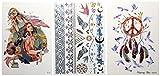 2 Trays Printer - Metallic Temporary Tattoos - Modern Boho Metallic 3 Sheet Value Pack - Gold Silver Temporary Tattoos | Fake Henna Tattoo | Boho Metallic Colorful