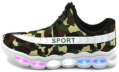ECOTISH Kleinkind Wasserdicht USB Aufladen LED Leuchtend Sport Schuhe Sportschuhe Sneaker Turnschuhe für Unisex-Kinder Junge Mädchen (36EU, Armeegrün)