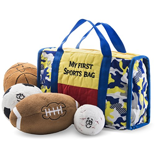 Prextex My First Sports Bag Playset Stuffed Plush Basketball, Baseball, Soccer Ball Football Great Gift Toy Baby Kid ()