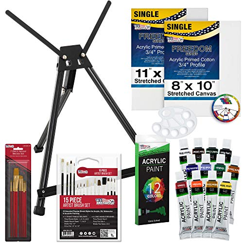 U.S. Art Supply 39-Piece Acrylic Artist Painting Set – Aluminum Table Easel, 12 Acrylic Colors, Stretched Canvas, Paint…