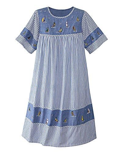 National Chambray Stripe Dress, Blue, 3X