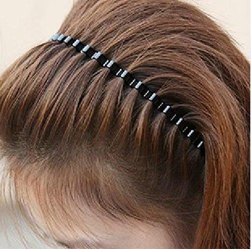 Unisex Black Spring Wave Metal Hoop Hair Band Girl Men`s Head Band Accessory