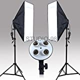 Continuous Lighting Kit with Two 4-Socket Light Heads for Total 8 Bulbs, Two Softboxes and Two Light Stands for Photography Photo Video Studio