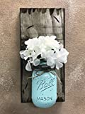 Wall SCONCE Mason Canning Glass Ball JAR with Flower (optional) – Reclaimed Country Rustic Decor – ANTIQUE WHITE *Hand Painted & Distressed Jar with twine is available in a variety of colors! Review