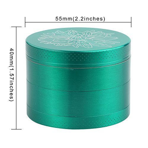 DCOU New Design Premium Zinc Alloy Herb Tobacco Grinder 2.2 Inches 4 Piece Metal Grinder with Pollen Catcher with Laser Flower Pattern Green by DCOU (Image #2)
