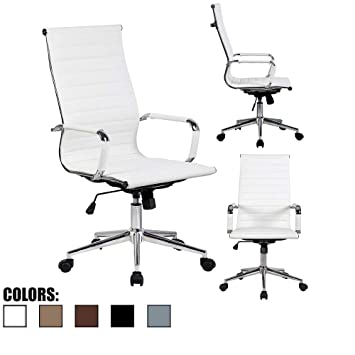 Tremendous 2Xhome White Contemporary Mid Century Modern High Back Ribbed Pu Leather Tilt Adjustable Ergonomic Office Chair With Padded Arms Arm Rest Wheels Desk Lamtechconsult Wood Chair Design Ideas Lamtechconsultcom