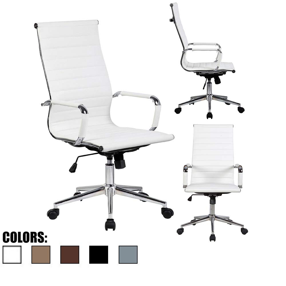 2xhome Contemporary Modern White High Back Computer Desk Ribbed PU Leather Tilt Adjustable Office Chair with Wheels & Arm Rest Rolling Designer for Home Boss Leather Conference Executive Mid-Century