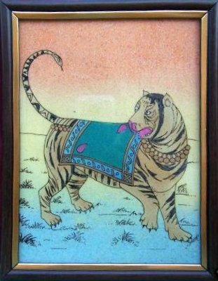 Tiger, Gem Stone Painting, Art & Craft of Jaipur, India