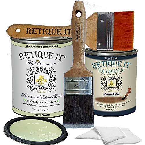 Retique It Chalk Furniture Paint by Renaissance DIY, Poly Kit, 36 Terre Verte, 32 Ounces