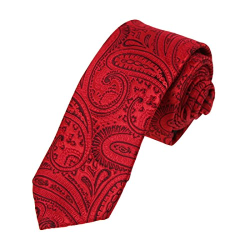 DAE7B18L Red Brown Patterned Microfiber Skinny Tie Buy For Working Day Thin Tie By Dan Smith -