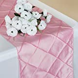 BalsaCircle 12 x 108-Inch Pink Fancy Pintuck Table Top Runner - Wedding Party Event Reception Occasions Linens Decorations
