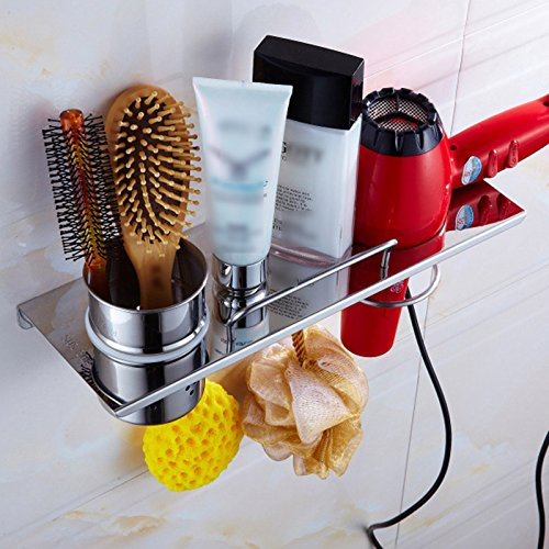 Wall Mounted Hair Dryer Rack Set 35cm Length Stainless Steel Comb Bath Ball Hair Dryer Rack Wall Holder Shelf Storage