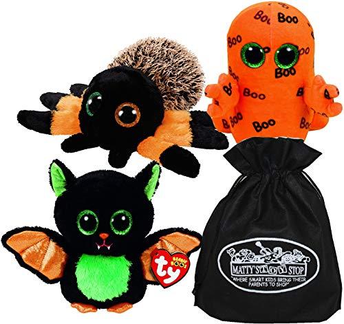 Ty Beanie Boos Halloween Beastie, Hairy & Ghoulie Gift Set Bundle with Bonus Matty's Toy Stop Storage Bag - 3 Pack