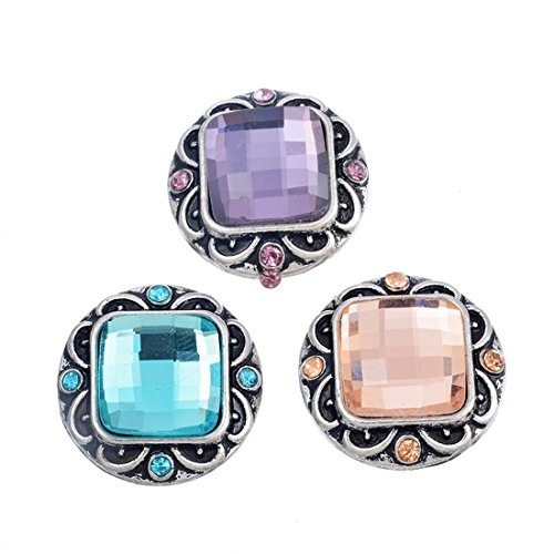 Souarts Fixed Mixed Square Rhinestone DIY Snap Button Jewelry Charms 20mm Pack of 3pcs