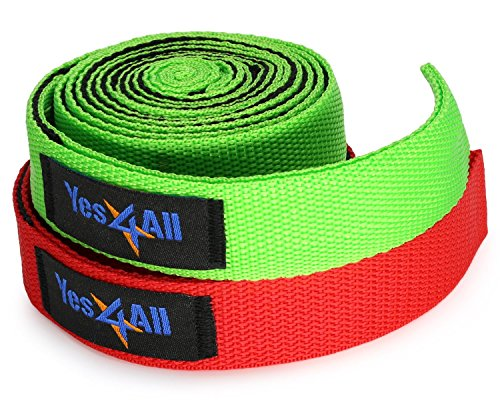 Yes4All Yoga Strap for Stretching with 10 Loop – Multi Color Available (Single & Pair)