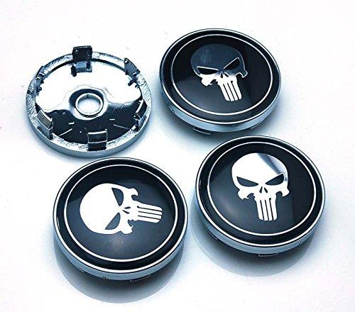 BENZEE 4pcs W314 60mm Car Emblem Wheel Hub Caps Centre Cover SKULL Punisher War (Skull Center)