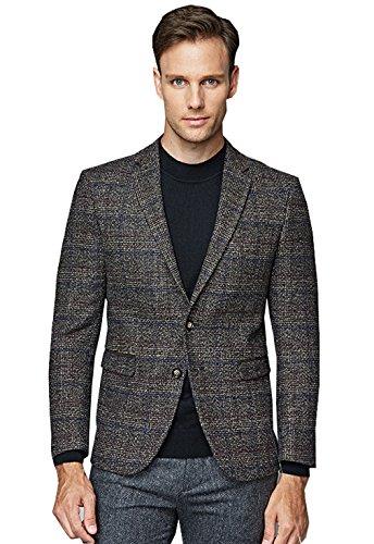 UNbox Mens Dress Casual Business Suit Two Button Slim Fit Suit Khaki XL by UNbox (Image #1)'