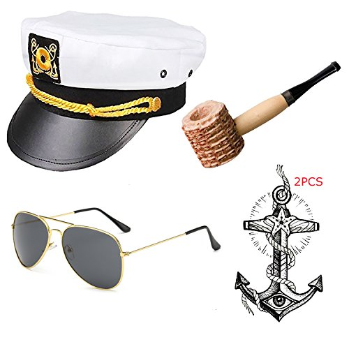 (Yacht Captain & Sailor Costume Accessories Set - Hat,Corn Cob Pipe,Aviator Sunglasses,Vintage Anchor Temporary Tattoo (OneSize,)